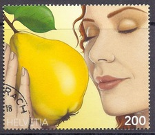 Switzerland / Svizzera / Schweiz - 2017 Essence De Coing, Mela Cotogna, Quince, Apple Fruits, Visage Femme, Woman Used - Gebraucht