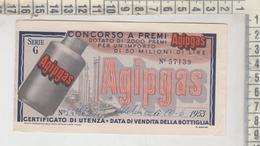 Lotteria Biglietto Agipgas Concorso A Premi Matelica Macerata 1953 - Biglietti Della Lotteria