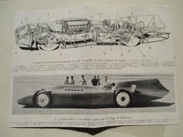 """Plan De Coupe Automobile De """"L'oiseau Bleu""""    - Coupure De Presse De 1935 - Machines"""