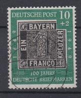 Bund 113 IV Mit Plattenfehler 100 Jahre Dt. Briefmarkens 10+2 Pf Gestempelt  - BRD