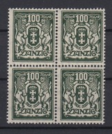 Danzig 141 4er Block Kleines Staatswappen 100 M Postfrisch - Danzig