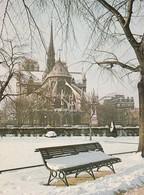 75.  PARIS. CPSM. LE CHEVET DE  NOTRE DAME.VU DU SQUARE DE L'ILE DE FRANCE SOUS LA NEIGE - Notre Dame De Paris