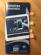 AEROPORT NICE COTE D'AZUR Horaires Timetable HIVER WINTER 2016 2017 - Horaires