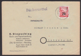 Grimmen (Mecklenburg) Bücherzettel E. Diepschlag Buch- U. Papierhandlung, Portorichtig Analog Einer Drucksache - Briefe U. Dokumente