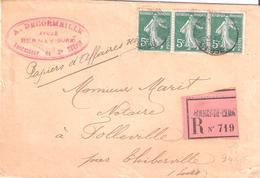 5c.semeuse Camée Vert Bande De 3 Sur PAPIERS D'AFFAIRES RECOMMANDES Obllitéré BERNAY DE L'EURE - Marcophilie (Lettres)
