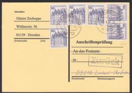 """Anschriftenprüfung BRD 913C (6) 10 Pf. Schloss Glücksburg  Mit """"zurück-St."""" - BRD"""