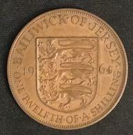 JERSEY - 1/12 SHILLING 1964 - Elizabeth II - 1ère Effigie - KM 21 - ONE·TWELFTH·OF·A·SHILLING - Jersey