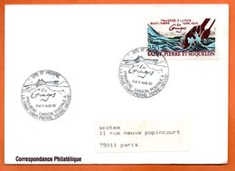 SAINT PIERRE ET MIQUELON   TRAVERSEE A LA RAME 1991 Lettre Entière N° RS 7 - St.Pierre Et Miquelon