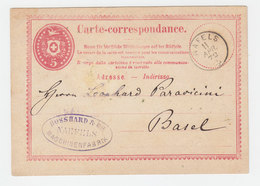 Schweiz 1872, Fingerhut Stpl. NAFELS Auf 5 C. Ganzsache - Switzerland