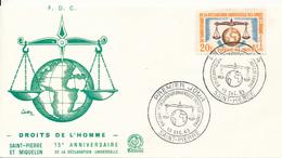 ST. PIERRE Et MIQUELON  -  1963 ,  15 Jahre Human Rights  -  FDC - FDC