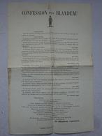 OHM Affichette Tract Confession D'un Blandeau Albertville Imprimerie Hodoyer élections Républicains Royalistes - Posters
