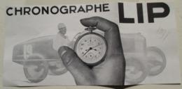 Chronographe Gousset De Course Automobile LIP -    Modèle TachLip    - Coupure De Presse De 1931 - Montres Gousset