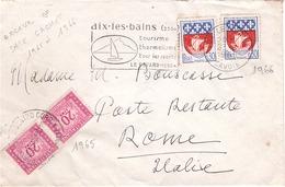 FRANCE - LETTRE - Aix Les Bains Pour Rome En Poste Restante - Variété Erreur De Date Cachets Ils Sont Inverses 1965/1966 - Curiosidades: 1960-69 Cartas