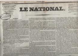 LE NATIONAL 11 02 1831  POLOGNE - LUXEMBOURG - BELGIQUE - PAPE GREGOIRE XVI - COGNAC - ST BENOIT DU SAULT - BEAUNE ALOYE - Journaux - Quotidiens