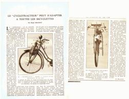 """LE """" CYCLOTRACTEUR """" Peut S'adapter A Toutes Les BICYCLETTES   1920 - Sonstige"""