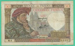 50 Francs - France -  Jacques Coeur - N° 05227/M.4 - D.13-6-1940.D. - TB  - - 50 F 1940-1942 ''Jacques Coeur''