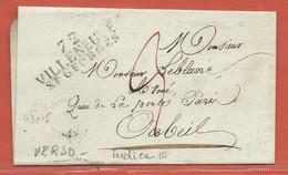 FRANCE LETTRE DE 1826 DE VILLENEUVE SAINT GEORGES POUR CORBEIL - Autres