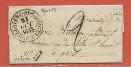FRANCE LETTRE DE 1833 DE VILLENEUVE SAINT GEORGES POUR PARIS - Autres