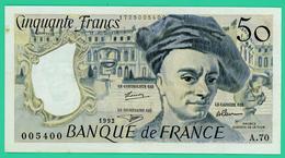 50 Francs - France -  Quentin De La Tour - N°. 005400/A.70 - 1992 -  TTB+ - - 50 F 1976-1992 ''Quentin De La Tour''