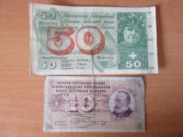 Suisse - Billets 50 Francs Et 10 Francs 1955 (7 Juli 1955 / 25 August 1955) - TB - Suisse