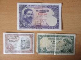 Espagne / Espana - 3 Billets 1, 5 Et 25 Pesetas 1953 / 1954 - TB / TTB - Spain