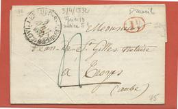 FRANCE LETTRE DE 1832 DE VILLENEUVE SAINT GEORGES POUR TROYES - Autres