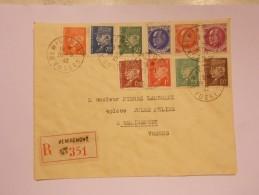 Marcophilie - Lettre Enveloppe Cachet Oblitération Timbres - Remiremont 26/05/1942 Recommandée (436) - 1921-1960: Période Moderne