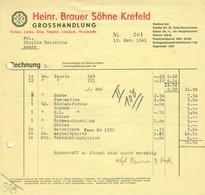 """KREFELD Niederrhein 1941 Rechnung """" Heinr.Brauer Söhne - Farben Lacke Glas Tapeten Linoleum Großhandel """" - Droguerie & Parfumerie"""