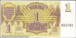 TWN - LATVIA 35 - 1 Ruble 1992 Prefix KK UNC - Lettonie