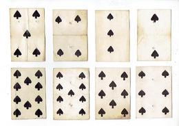 CARTE A JOUER - ANCIENNE - 18° SIECLE - LOT DE 8 - PIQUE - 2, 3, 4, 5, 6, 8, 9 Et 10 - Kartenspiele (traditionell)