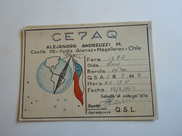 Cartolina Postale  QSL 1951 CE7AQ CILE CHILE PUNTA ARENAS - Radio