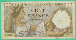 100 Francs  - Sully -  France -  N°. H.24035/938 - - CL.4=9=1941.CL - TB+ - - 1871-1952 Antichi Franchi Circolanti Nel XX Secolo
