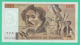 100 Francs  - Delacroix -  France -  N°. L.191/007409 - 1991 - TTB - - 1962-1997 ''Francs''