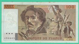 100 Francs  - Delacroix -  France -  N°.C232/438805 - 1993 - TTB - - 1962-1997 ''Francs''