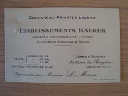 CARTE DE VISITE ETABLISSEMENTS KALKER - Visiting Cards