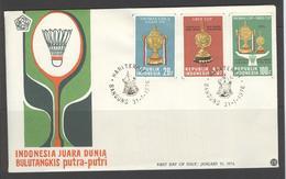 INDONESIA INDONESIË 1976 FDC E 20 BADMINTON BLANK BLANCO - Indonesien