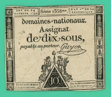 Assignat De 10 Sous - France - Série 358 - TB + - - Assignats