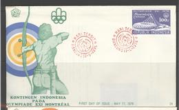 INDONESIA INDONESIË 1976 FDC E 24 OLYMPICS BLANK BLANCO - Indonesia