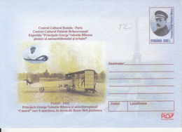 86326- GEORGE BIBESCU, PILOT, PLANES, COVER STATIONERY, 2002, ROMANIA - Entiers Postaux