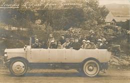 BELLE CARTE PHOTO AUTOCAR   - VOITURE - EXCURSION - LOURDES - DEPART POUR GAVARNIE - Buses & Coaches