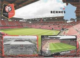 Stade De Football - Stade Du Roazhon Park - Stade Rennais - Carte De La France - Écusson Du Stade Rennais Cpm - Vierge - - Calcio