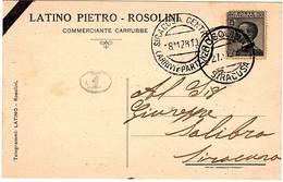 """ROSOLINI.CARTOLINA INTESTATA DITTA """"LATINO PIETRO""""COMMERCIANTE CARRUBBE.AFFR,C'30 BOLLO """"ROSOLINI 27-12-282. - Mercanti"""