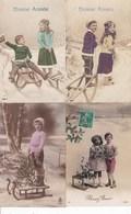 L-036....4 CPA ENFANTS LUGE - Ansichtskarten