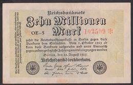 Reichsbanknote 10 Millionen - Rosenberg 105 Mit FZ: OE-5 Deutsches Reich - [ 3] 1918-1933: Weimarrepubliek