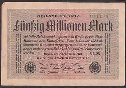 Reichsbanknote 50 Millionen - Rosenberg 108 Mit FZ: VL-25, Germany - [ 3] 1918-1933: Weimarrepubliek