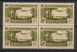 Sénégal - 1935 - Poste Aérienne PA N°Yv. 6 - 3f Vert - Bloc De 4 - Neuf Luxe ** / MNH / Postfrisch - Posta Aerea
