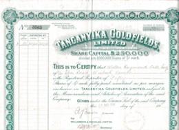 TANGANYIKA GOLFIELDS LIMITED 1928 - Mines