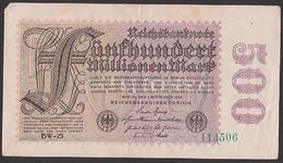 Reichsbanknote 500 Millionen Vom 1.9.1923 - Rosenberg 109, Kb: BW-25 - [ 3] 1918-1933: Weimarrepubliek