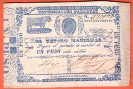 PARAGUAY - National Teasury 1 Peso ( 1865 )  Pick 21 - Paraguay