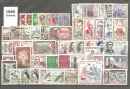 ANNEE Complète 1960 Oblitérée Sans Trace De Charnière Au Verso .53 Timbres Y&T N°1230 / 1280. + Variété 1274a.TB. - Frankreich